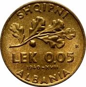 0.05 Lek - Vittorio Emanuele III – reverse