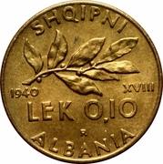 0.10 Lek - Vittorio Emanuele III – reverse