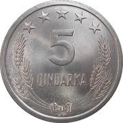 5 Qindarka (25th Anniversary of Albania's Liberation) -  reverse