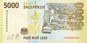 5,000 Lekë -  reverse
