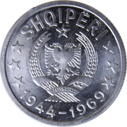 20 Qindarka (25th Anniversary of Albania's Liberation) -  obverse