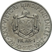 1 Frang Ar - Zog I (25th Anniversary of Independence) – reverse