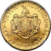 100 Franga Ari - Zog I (25th Anniversary of Independence; Prova) -  reverse