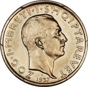 1 Frang Ar - Zog I (25th Anniversary of Independence; Prova) -  obverse