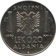 0.20 Lek - Vittorio Emanuele III (Italian occupation) – reverse