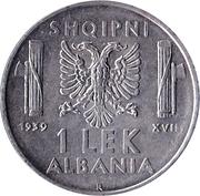 1 Lek - Vittorio Emanuele III -  reverse