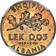 0.05 Lek - Vittorio Emanuele III (Italian Occupation; Prova) – reverse