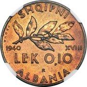 0.10 Lek - Vittorio Emanuele III (Prova) -  reverse