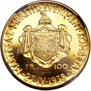 100 Franga Ari - Zog I (Royal Marriage; Prova) -  obverse