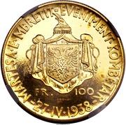 100 Franga Ari - Zog I (Royal Marriage; Prova) -  reverse