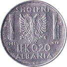 0.20 Lek - Vittorio Emanuele III – reverse