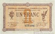 1 Franc - Chambres de Commerce du Tarn [81] – obverse