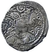 Drachm - Alchon Huns - Tobazini (Sassanian type, Warham IV imitation, Type 32, unknown mint) – obverse