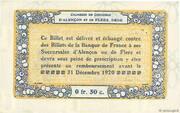 50 centimes - Chambres de commerce d'Alençon et de Flers [61] <Bleu, filigrane> – reverse