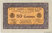 50 centimes - Chambres de commerce d'Alençon et de Flers [61] <Mauve, filigrane abeilles> – obverse
