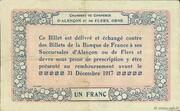 1 franc - Chambres de commerce d'Alençon et de Flers [61] – reverse