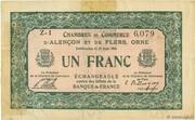 1 franc - Chambres de commerce d'Alençon et de Flers [61] <Vert, filigrane abeilles> – obverse