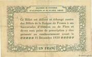 1 franc - Chambres de commerce d'Alençon et de Flers [61] <Vert, filigrane abeilles> – reverse