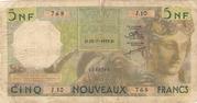 5 Nouveaux Francs – obverse