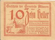 10 Heller (Alkoven) – obverse