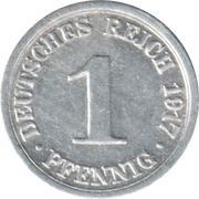 1 Pfennig - Wilhelm II (type 1 - large shield) – reverse