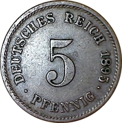 5 Pfennig - Wilhelm II (type 2 - small shield) -  reverse