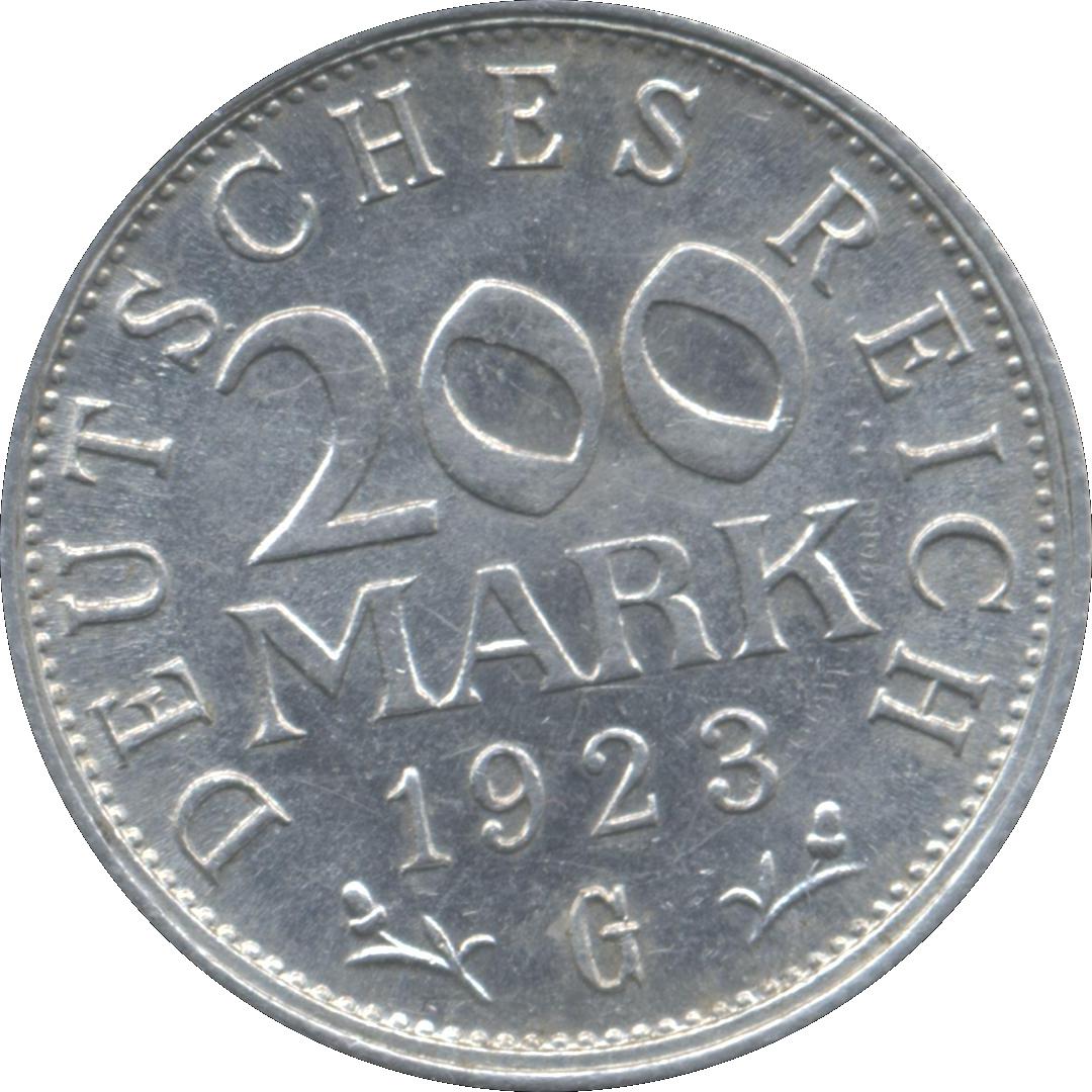 KM35 Germany 1923 A 200 Marks AU