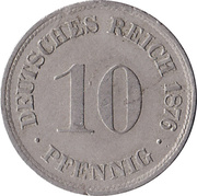 10 Pfennig - Wilhelm I (type 1 - large shield) – reverse