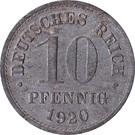 10 Pfennig - Wilhelm II (type 2 - small shield; without mintmarks) – reverse