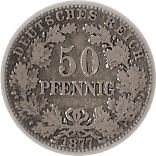 50 Pfennig - Wilhelm I (type 1 - large shield) – reverse