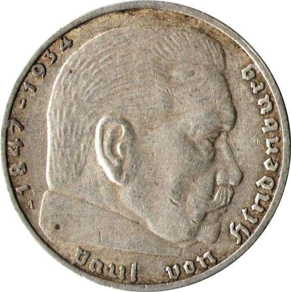 #72 1 Reichspfennig 1937-1939 Coin with SWASTIKA Stamp WW2