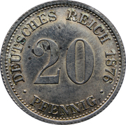 20 Pfennig - Wilhelm I (type 1 - large shield) – reverse