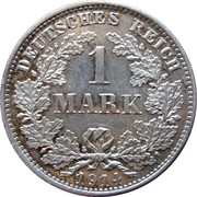 1 Mark - Wilhelm II (type 2 - small shield) -  reverse