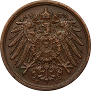 2 Pfennig - Wilhelm II (type 2 - small shield) -  obverse