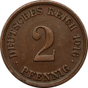 2 Pfennig - Wilhelm II (type 2 - small shield) – reverse