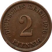 2 Pfennig - Wilhelm II (type 2 - small shield) -  reverse