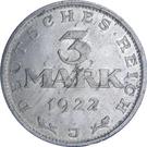 3 Mark (Weimar Constitution) – reverse