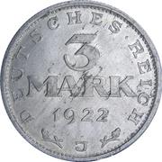 3 Mark (Weimar Constitution) -  reverse
