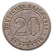 20 Pfennig - Wilhelm II – reverse