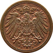 1 Pfennig - Wilhelm II (type 2 - small shield) -  obverse
