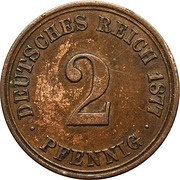 2 Pfennig - Wilhelm I (type 1 - large shield) – reverse