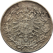 50 Pfennig - Wilhelm I (type 1 - large shield) -  obverse