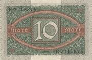 10 Mark (Reichsbanknote) – reverse