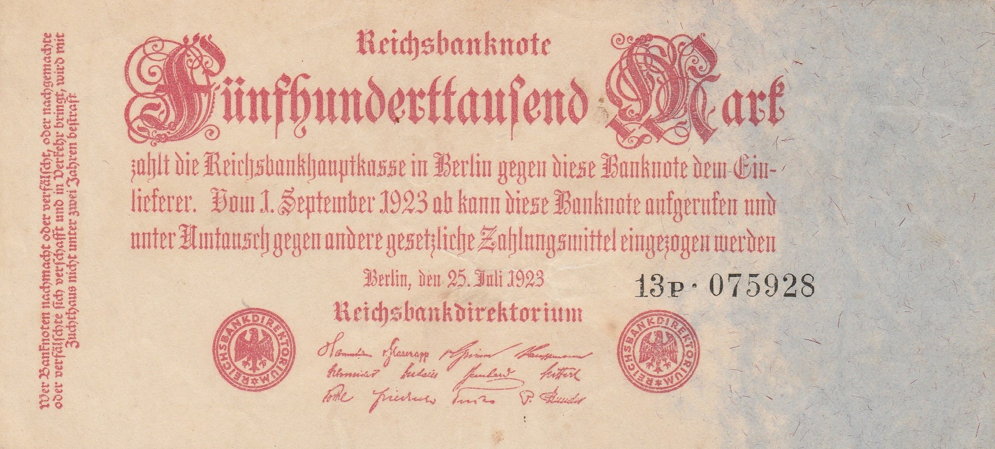 Seri... Consecutives Available 1-5-1923 Details about  /Germany; Reichsbanknote 500,000 mark