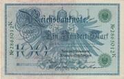 100 Mark (Reichsbanknote; green seal) – obverse