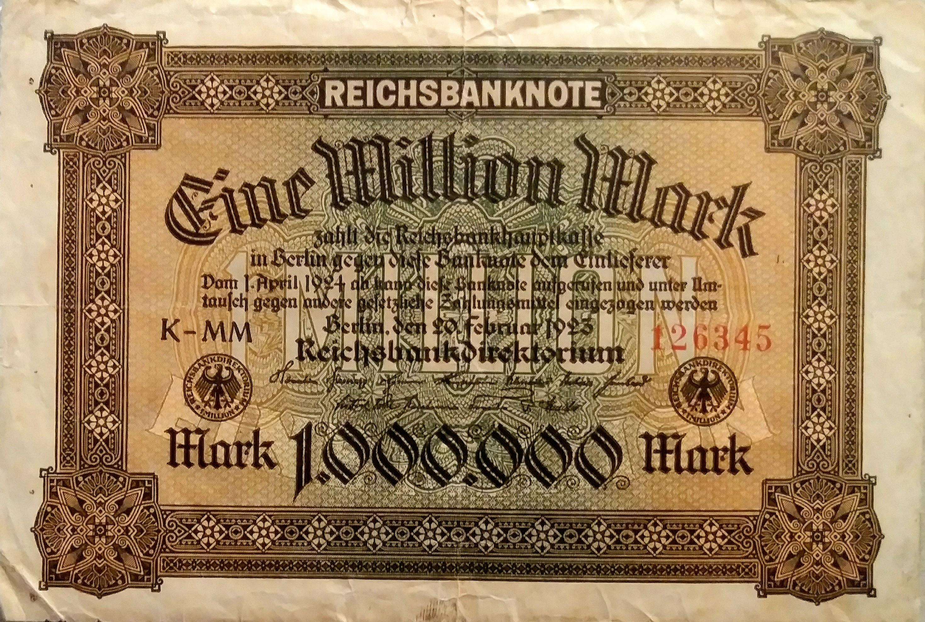 2 Million Mark 1923 Reichsbanknote