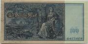 100 Mark (Reichsbanknote; green seals) – reverse