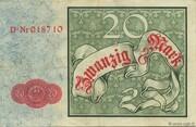 20 Mark (Reichskassenschein) – reverse