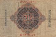 20 Mark (Reichsbanknote) – reverse