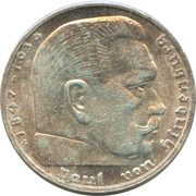 2 Reichsmark (Paul von Hindenburg) -  reverse
